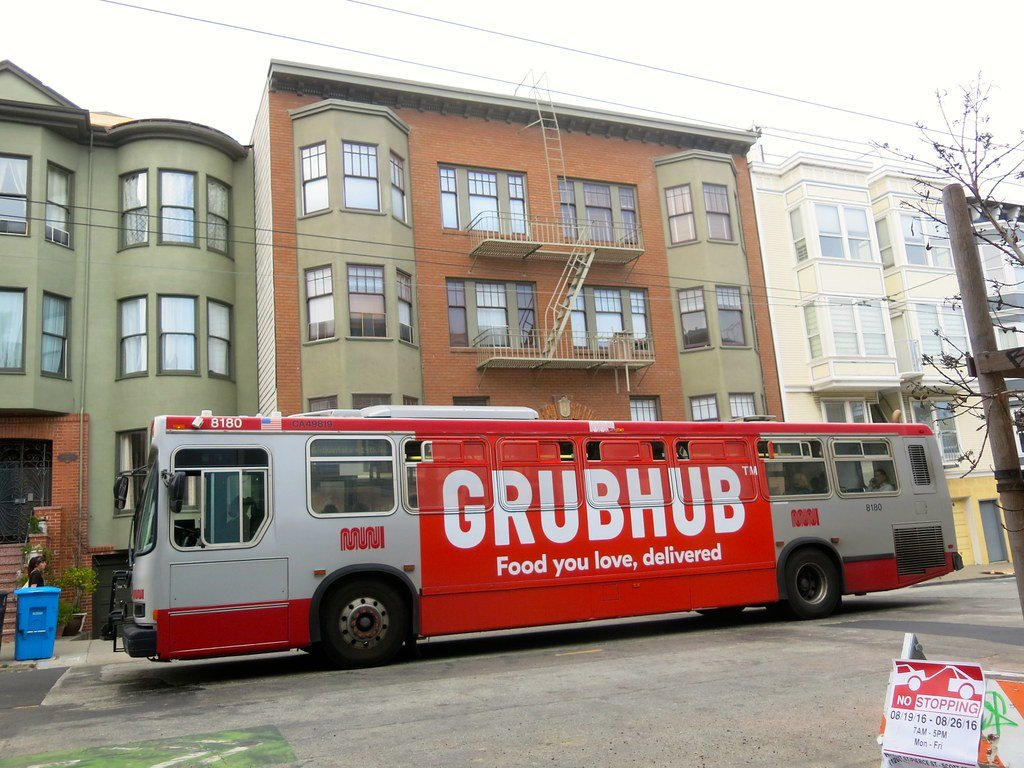 Bus with Grubhub ad