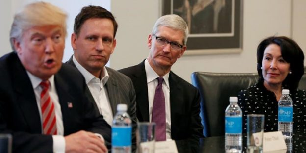 Apple CEO Tim Cook in a meeting with President Donald Trump