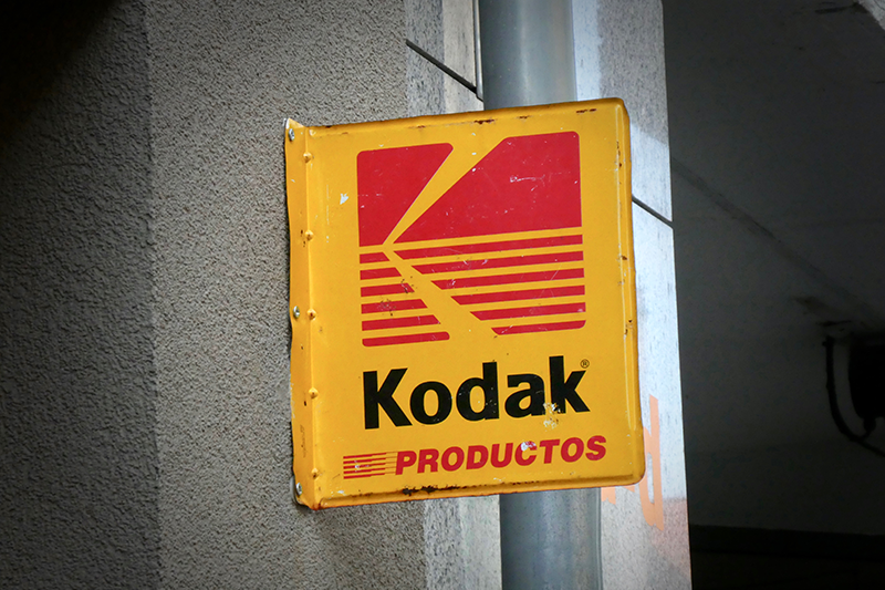 Berlin, Germany - April 28, 2018: Kodak sign on building exterior. (By Cineberg)
