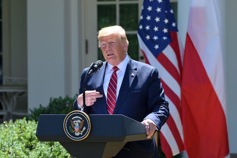 Washington, D.C. - June 12, 2019: President Donald Trump addresses reporters' questions at a press conference in the Rose Garden of the White House with Polish President Andrzej Duda. (By Evan El-Amin)